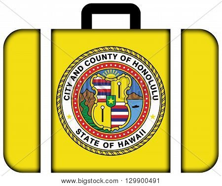 Flag Of Honolulu, Hawaii. Suitcase Icon, Travel And Transportation Concept