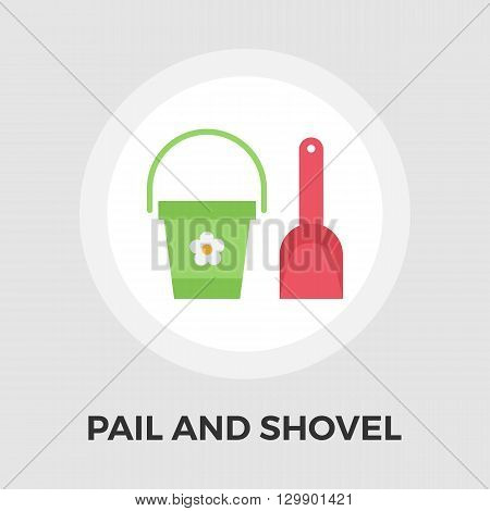 Pail and shovel icon vector. Flat icon isolated on the white background. Editable EPS file. Vector illustration.