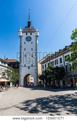 Exterior Views Of The Tower Stadtturm In Baden, Switzerland