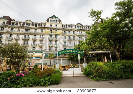 Exterior Views Of Famous Hotels And Casinos In Montreux, Switzerland
