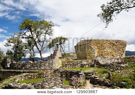 South America Peru Kuelap matched in grandeur only by the Machu Picchu this ruined citadel city in the mountains near Chachapoyas. Temple of the sun