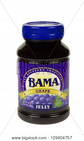 RIVER FALLS,WISCONSIN-MAY 16,2016: A jar of Bama brand traditional grape jelly.