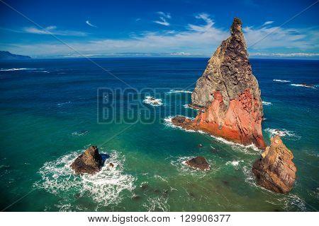 cliffs of extinct lava at the Ponta de Sao Lourenco Madeira Portugal