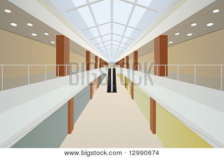 große Werkstatt zwei mit Rolltreppe und Glas Dach Handels Zentrum Galerie innen Vektor