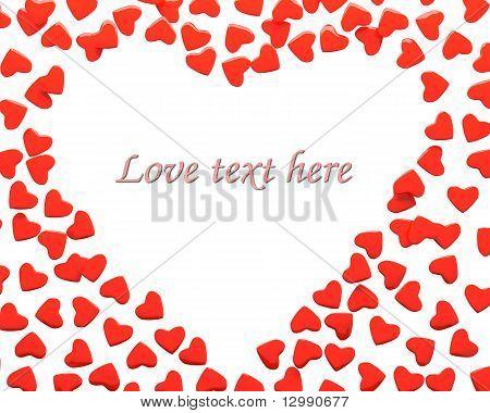 Rendering of valentine hearts