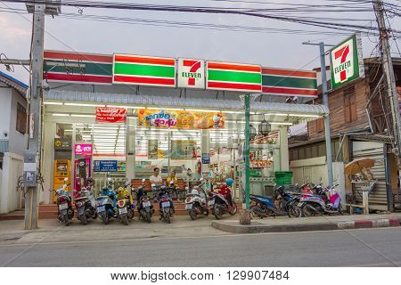 PAI, THAILAND - April 10, 2016 : 7-Eleven in the evening in PAI, 7-Eleven is convenience store with largest number of outlets in Thailand