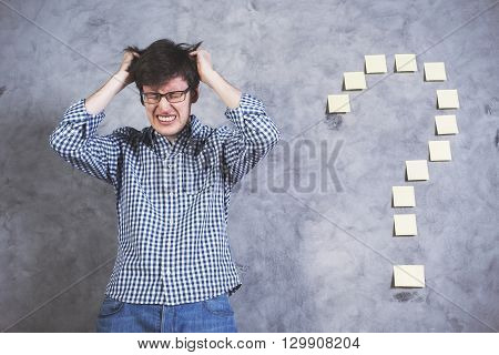 Stressed Man Question Mark