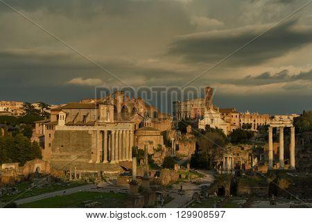 Beautiful evening light at the Forum Romanum Rome Italy