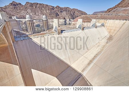 Wide Angle Picture Of The Hoover Dam Spillway.