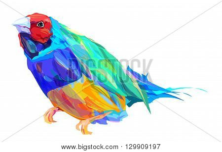 The  exotic bird isolated on white background. Retro design graphic element. This is illustration ideal for a mascot and tattoo or T-shirt graphic. Stock illustration