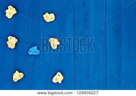 Top down view on seven oddly shaped yellow and blue climbing grip handholds on wooden wall with copy space