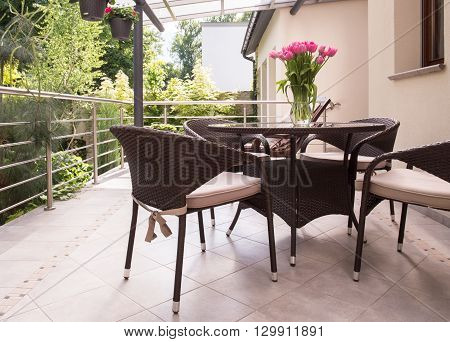 Garden Furniture On The Balcony