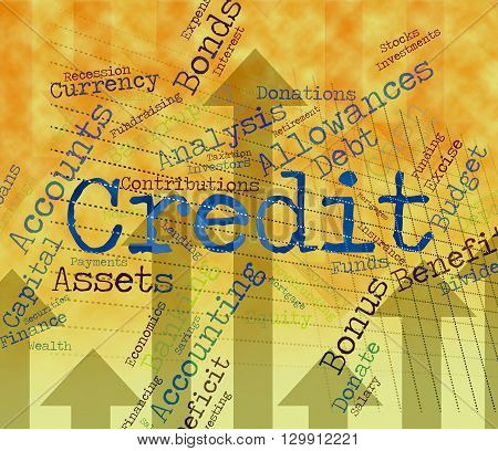 Credit Word Shows Debit Card And Banking