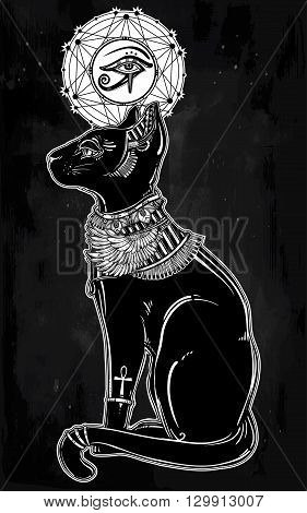 Vintage hand drawn egyptian cat with eye of  god Horus - symbol of goddess Bastet. Vector illustration isolated. Magic religious objects linear in style. Tattoo and print outline template.