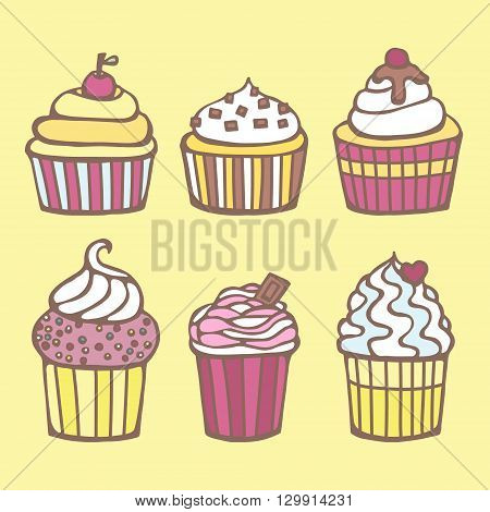 Vector hand drawn doodle set of cape cakes. Light yellow pink brawn blue and white colors of cakes. Isolated. On light yellow background.