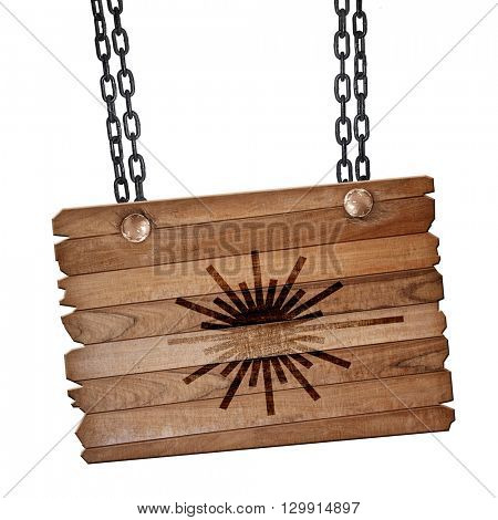 Laser warning sign, 3D rendering, wooden board on a grunge chain