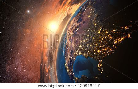 3D rendering of detailed colorful Earth,  highly detailed planet earth in the evening, sunset over USA