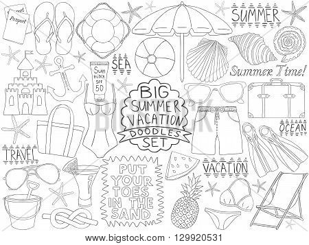 Doodles summer vacation set. Ocean and sea trip doodles. Big collection of summer time tourism sketches. Traveling items. Pencil effect simple doodles. Set of summer beach rest objects. Tropical resort items.