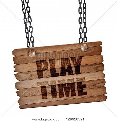 play time, 3D rendering, wooden board on a grunge chain