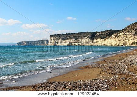 Kourion beach near Limassol, Mediterranean sea, Cyprus