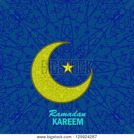Ramadan Greetings Background. Ramadan Kareem Means Ramadan the Generous Month. Ramadan Greeting Card. Yellow Moon and Yellow Star on Blue Ornamental Background