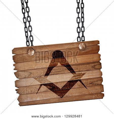 Masonic freemasonry symbol, 3D rendering, wooden board on a grun
