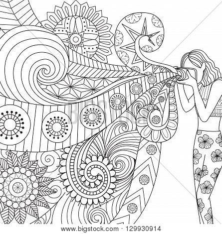 Doodles design of a photographer girl taking photo for coloring book for adult, card,poster,banner and other decorations - Stock vector