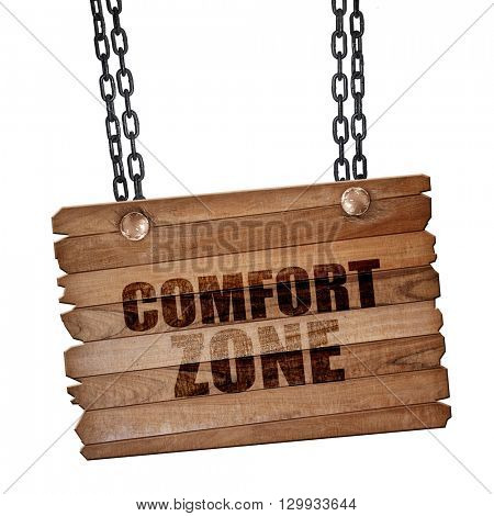 comfort zone, 3D rendering, wooden board on a grunge chain