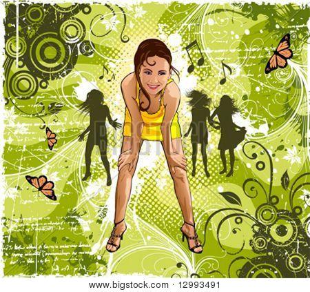 Girl. Grunge floral background.