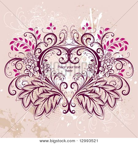 Heart. Floral background.