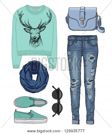 Lady fashion set of autumn, winter season outfit. Illustration stylish and trendy clothing. Denim, slip-on, jeans, bag. Paradise, tropical, exotic flamingo