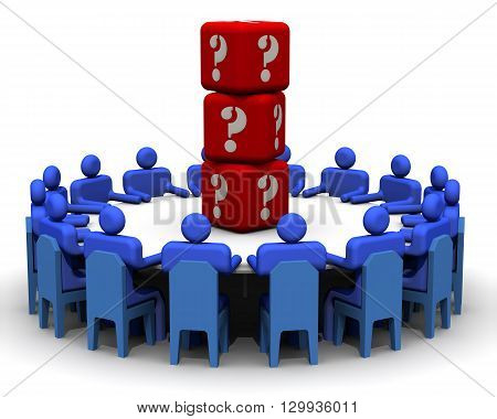 Problem solving. Symbolic people sitting at a round conference table in the center of which lies the dice with symbols of questions. The concept of problem solving. Isolated. 3D Illustration