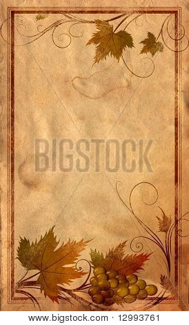 Grape, wine label, abstract floral background