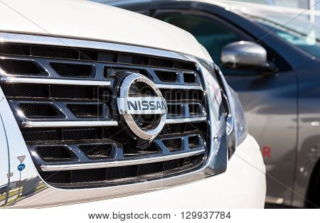 SAMARA RUSSIA - MAY 14 2016: Vehicles Nissan near the office of official dealer. Nissan is a Japanese multinational automaker