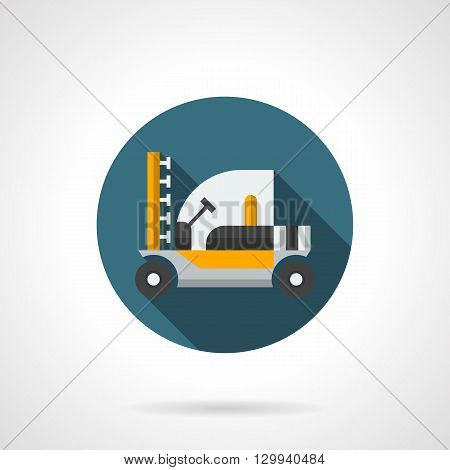 Yellow farm tractor a side view with long shadow. Equipment for spraying chemicals. Agriculture machinery. Crop protection from pests and diseases. Round flat color style vector icon.
