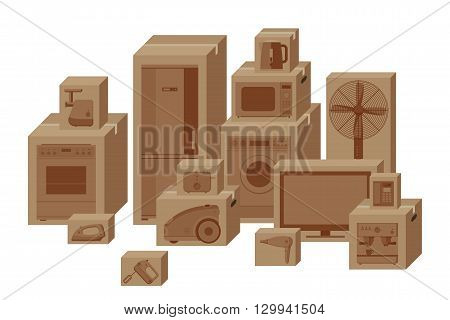 Household appliances in boxes. Vector flat illustration.