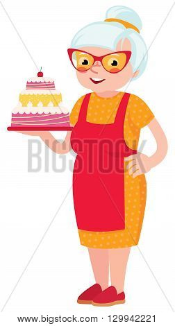 Grandmother baked a cake Stock vector illustration