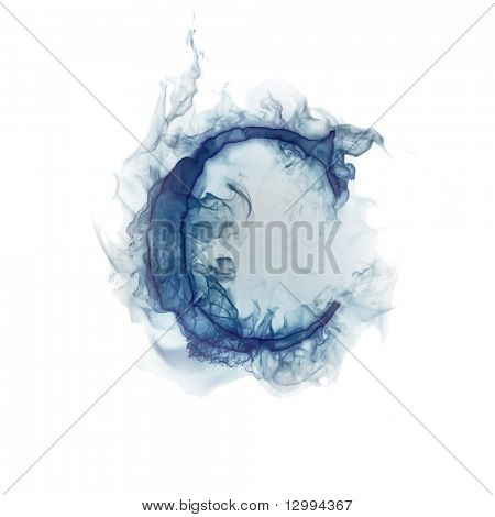 Letter C. Ink in water.