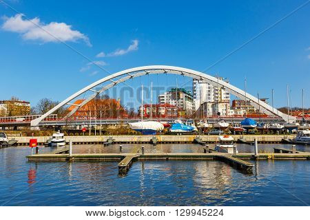 Kolobrzeg, Poland - April 08, 2016: View On Harbor In Kolobrzeg With Many Moored Boats And Ships. Ko