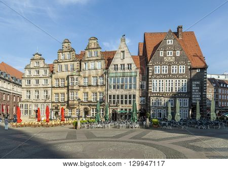 Facade Of  Old Guilde Houses At The Markep Place In Bremen