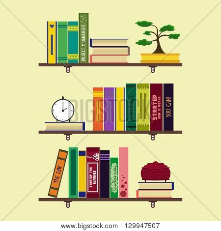 Flat home library or room bookshelves with books bonsai clock jewelry box. Home comfortable book lover decor concept. Booklover card poster banner flyer brochure. Vector illustration set