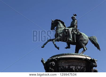 The streets of St. Petersburg. Monument to the Russian tsar Nicholas I on St. Isaac's Square. One of the symbols of St. Petersburg. St. Petersburg. Russia.
