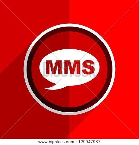 red flat design mms web modern icon