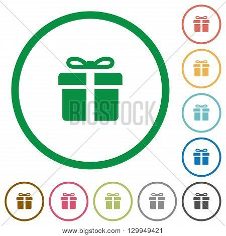 Set of Gift box color round outlined flat icons on white background