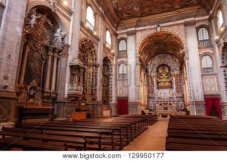 Santarem, Portugal. September 9, 2015: Interior of the Santarem See Cathedral aka Nossa Senhora da Conceicao Church built in the 17th century Mannerist style.