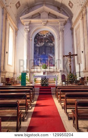 Santarem, Portugal. September 10, 2015: Altar of the Hospital de Jesus Cristo Church. 17th century Portuguese Mannerist architecture, called Chao.