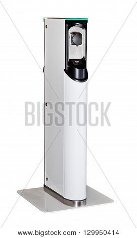 Electric car charging station isolated on white background