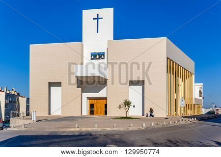 Seixal, Portugal. November 04, 2015: The new catholic church of Amora inaugurated in 2007.