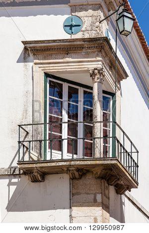 Santarem, Portugal. September 11, 2015:  The Renaissance Window (Janela Renascentista) near the Misericordia Church.