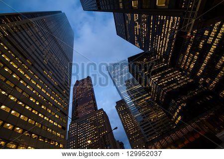 Night View Of Toronto City Skyscrapers; Look Up